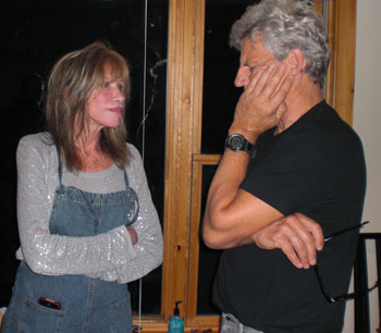 "Carly Simon and Ernest Thompson recording ""The Father Daughter Dance"" (courtesy photo)"