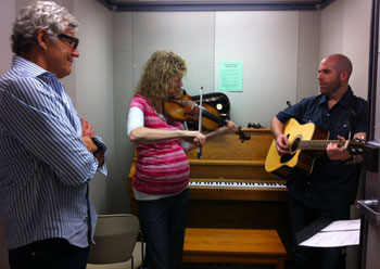 Ernest Thompson, Natalie MacMaster and Joe Deleault in the studio, Fitchburg, MA (courtesy photo)