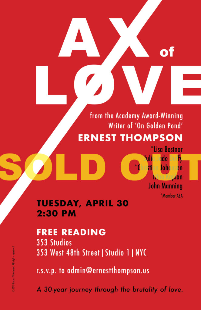 SOLD OUT - Ax of Love Reading April 30, 2019